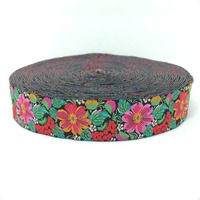 HOT!!! 2015 NEW  wholesale 7/8'' 22mm Wide Flower color elegant style Woven Jacquard Ribbon dog chain accessories 10yards/lots