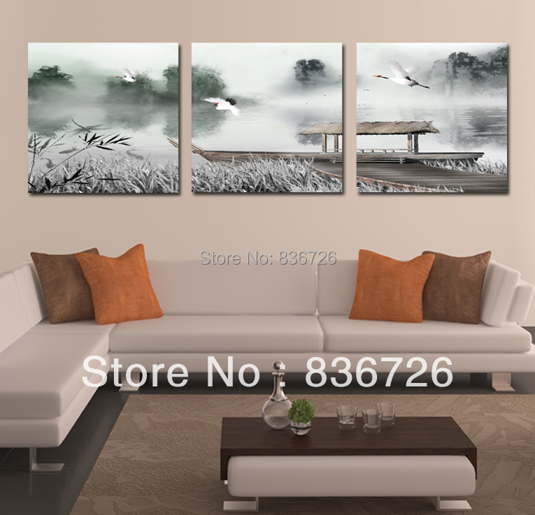 Canvas painting Chinese painting Colorful art  Paintings for living room wall Fashion home decoration 3 piece canvas wall art(China (Mainland))