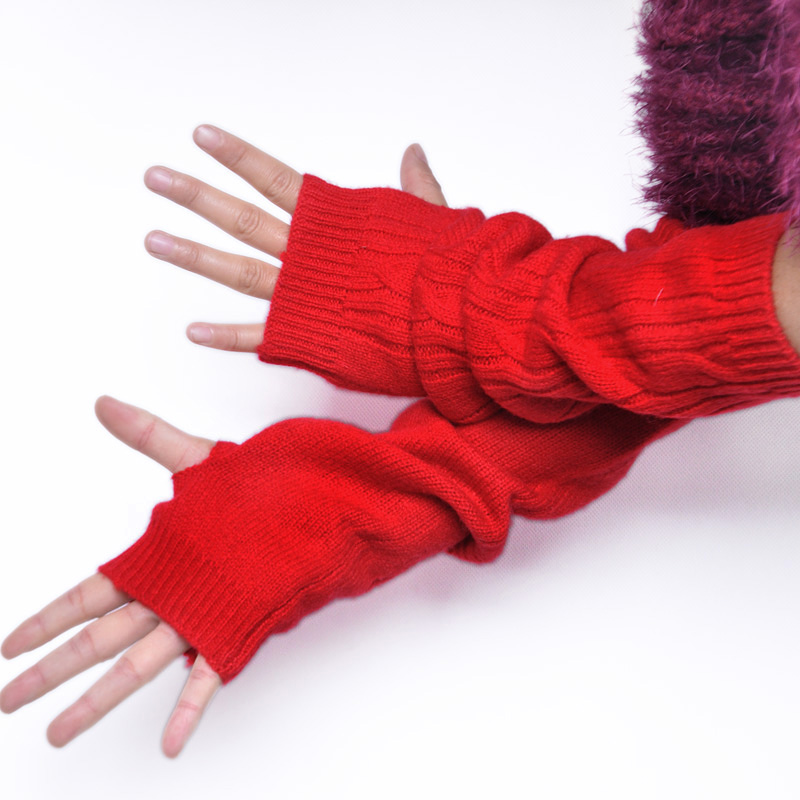 Superior Full wool lucy refers to semi-finger women's thermal winter gloves long arm sleeve design oversleeps(China (Mainland))