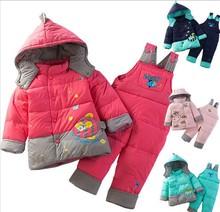 Retail Child Winter Warm Down Parka Suit Kids Outdoor Outwear Coat + Jumpsuit Twinset 6 Colors(China (Mainland))