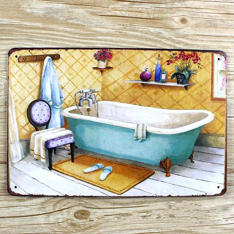 Vintage home decor metal plaques decoration tin signs for Plaque deco cuisine retro