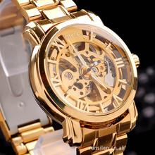 Calidad superior de lujo hombres esqueleto reloj automático / militar mira el envío libre