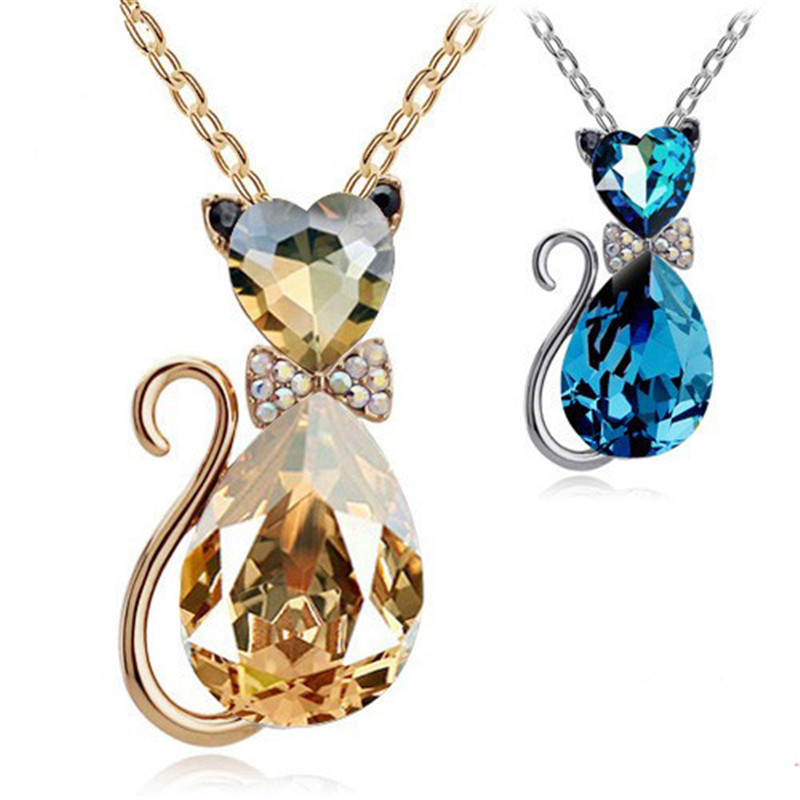 product view cute necklace whiter silver little zoom side cat