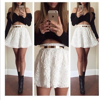 2 Piece Set Women Black Strapless Crop Top Skater Skirt Long Sleeve Shoulder Cropped White Floral Crochet Lace - East Park store