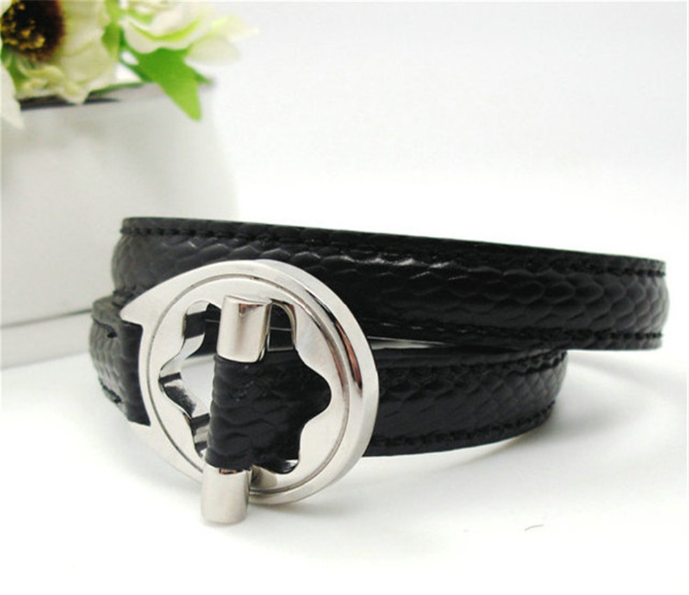 316 l fashionable man jewelry stainless steel double ring wear black leather bracelet silver plated bracelet - free shipping(China (Mainland))
