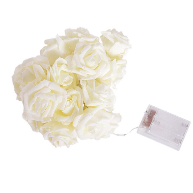 White Wedding Valentine's Day LED Light Rose Flower Vine 20 Flowers Decorative Indoor Outdoor Garden Decoration(China (Mainland))