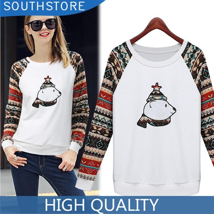 Autumn Sweatshirts 2014 Casual Bear Printed Hoodies Long Embroidery Sleeve Sweatshirt Pullover Sport Tracksuits Women Hoody - SouthStore Apparel (ShenZhen store co., LTD)