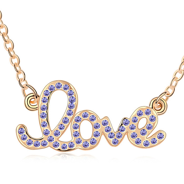 Sexy Woman's fashoin 18k real gold plated letter love crystal pendant and necklace Modern Charm jewelry women accessories(China (Mainland))