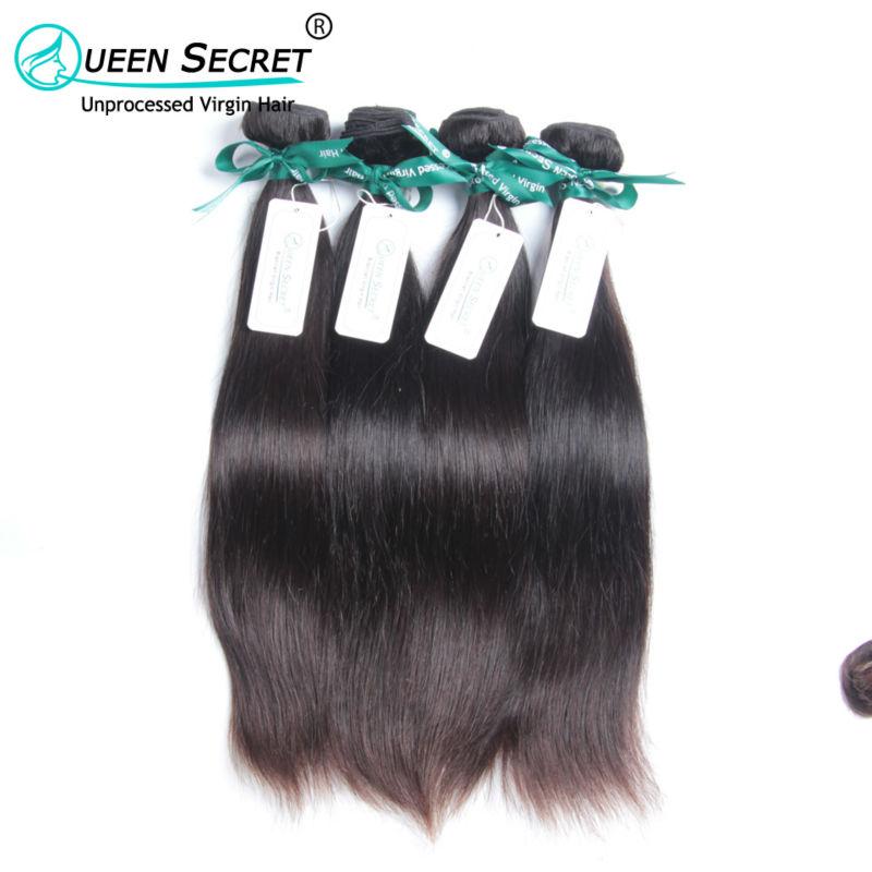 Queen Secret Full cuticle hold unprocessed virgin hair cheap 100% human hair weave 4pcs a lot Free shipping Brazilian straight