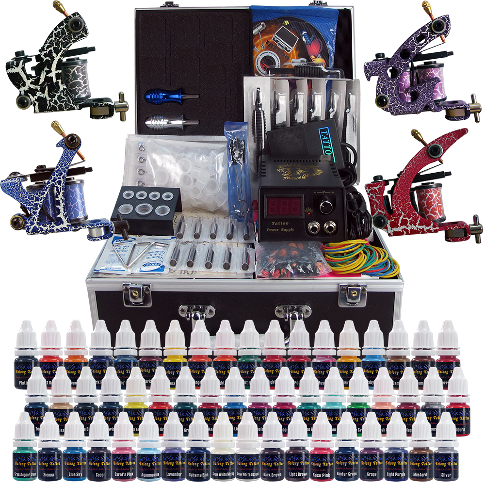 Wholesale solong tattoo complete tattoo kit 4 pro machine for Cheap tattoo supplies free shipping