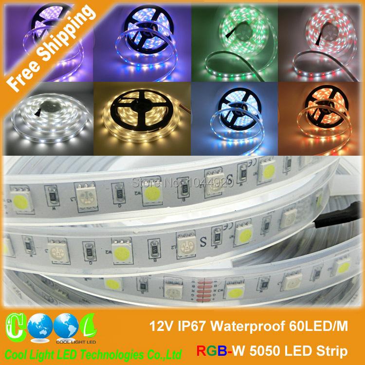 DC12V IP67 Waterproof RGBW 5050 LED Strip, 60LED/m,300leds/roll,beautiful color RGB+White,RGB+Warm White,5m/lot(China (Mainland))