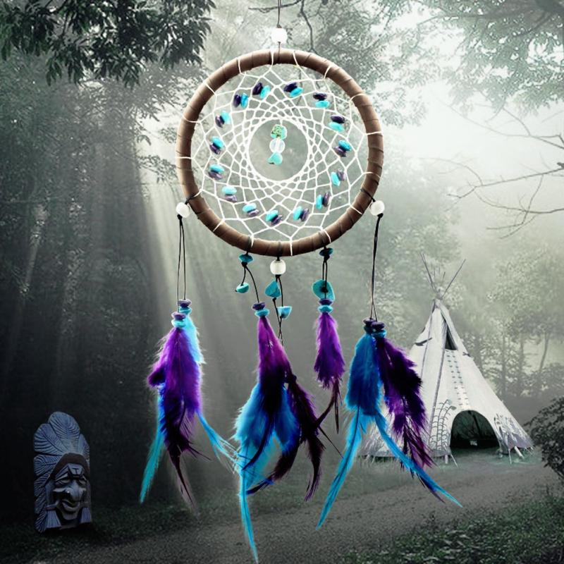Гаджет  2015 New Fashion Wind Chimes Indian Style Feather Pendant Dream Catcher Gift Home Decor None Дом и Сад