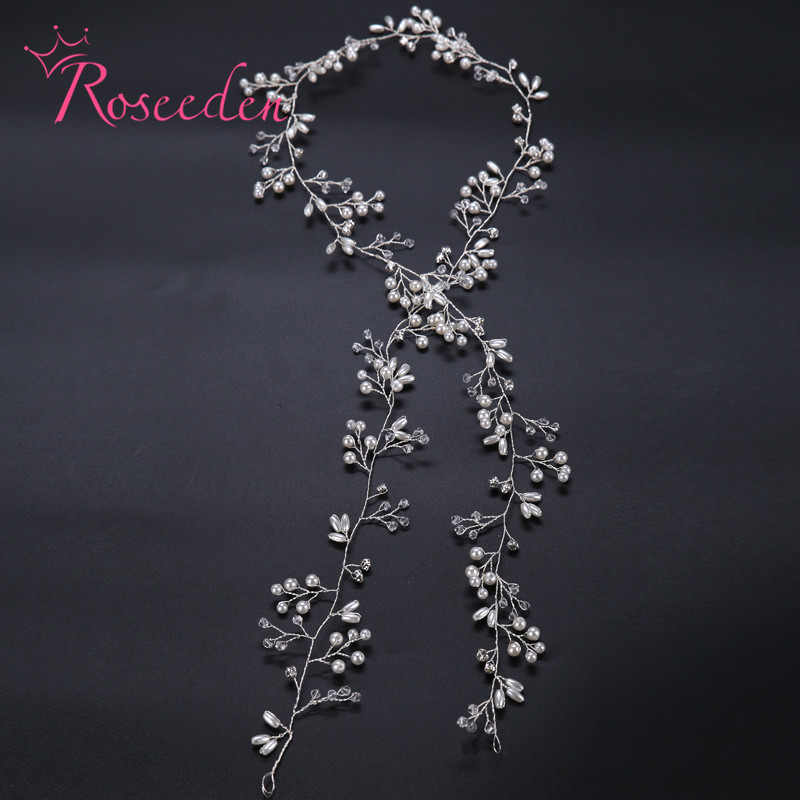 90-100cm Long pear&crystal Rhinestone Head Piece Bride Headwear 100% Handmade Headband women Party Jewelry Accessories RE718(China (Mainland))