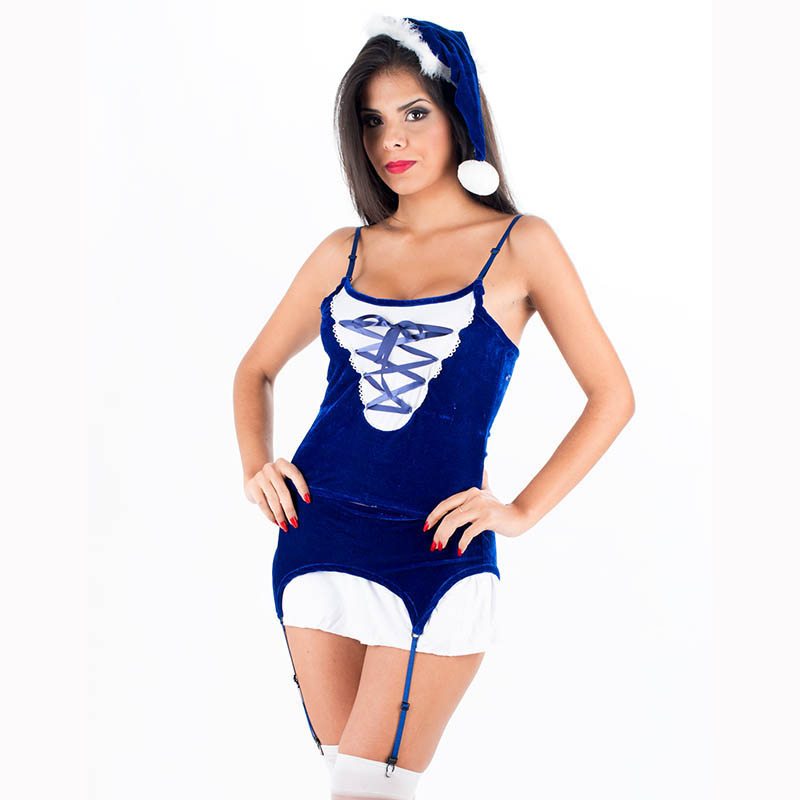 New Sexy Santa Claus Costume Blue Exotic Dress Women Spaghetti Strap Top Short Mini Skirt With Hat Christmas Party Dress W204029(China (Mainland))