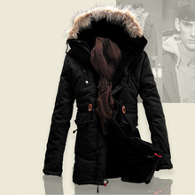 2014 new men's cotton coats and thick velvet slim leisure trench coat over 100% cold free shipping(China (Mainland))