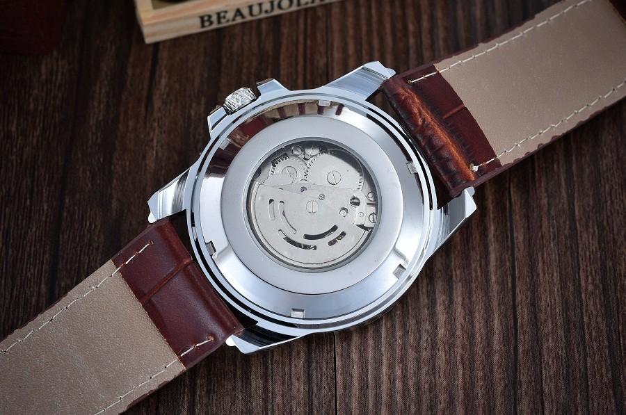 GOER марка мужская Скелет наручные часы Спорта водонепроницаемый Механическая автоматическая Кожа мужчины Смотреть Световой цифровой