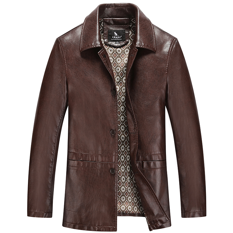 Hot Sale! The New Men's Leather Coat Middle-aged Men Long Leather Trench Coat Men's Leather Jacket Mens Leather Coats(China (Mainland))