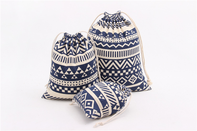 2016 Christmas Candy Bag Ethnic Style Cotton&linen Storage Bags Travel Makeup Drawstring Tea Bag for Kids Gifts