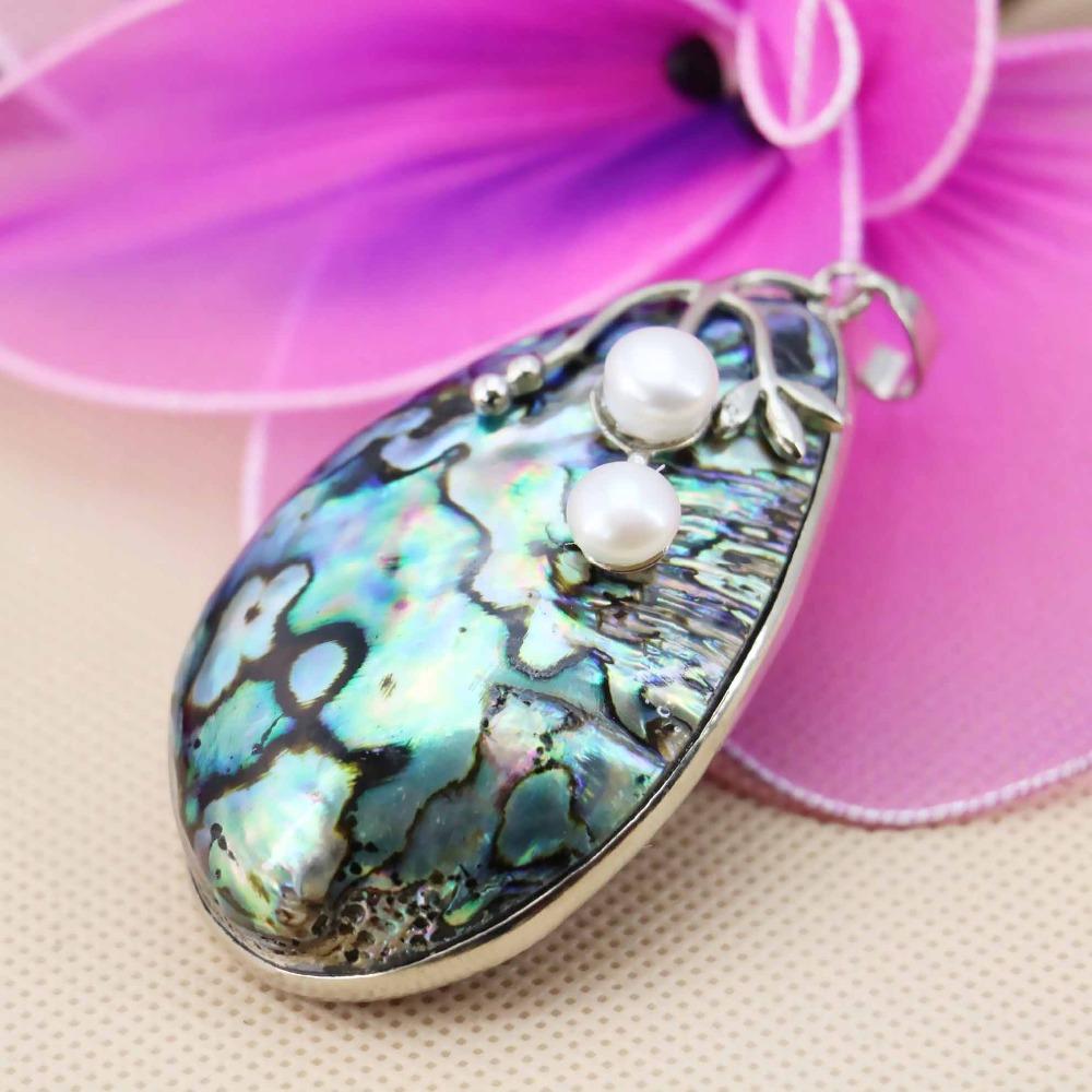 L050 Hot! Fashion abalone seashells crafts white pearl pendant,Fit beautiful women jewelry DIY making Lucky girl gift(China (Mainland))