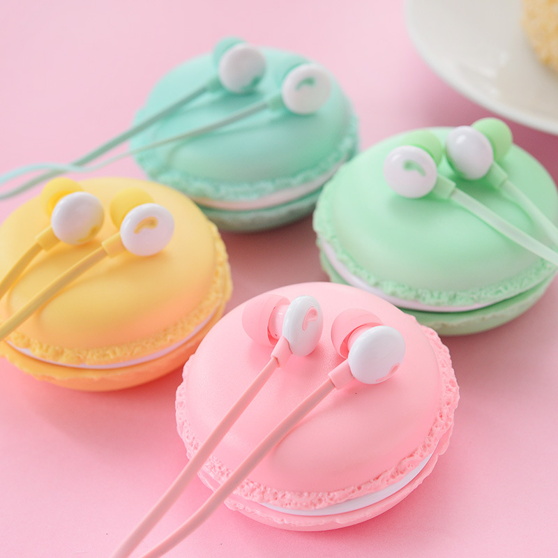 Cute Lovely Candy Color Macaron In-Ear Stereo Music Earphone with Microphone Kawaii Colorful Earbud For Phones with Storage Box(China (Mainland))