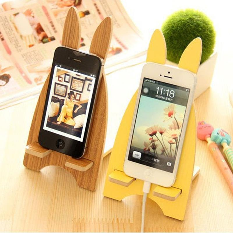 Fashion Cute Wooden Rabbit Mobile Phone Holder Telephone Support Stand New Design For Cell Phone Accessories(China (Mainland))