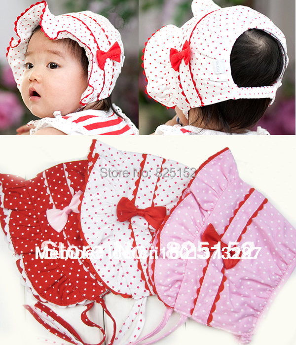 1 piece Infant Newborn Girl Baby Polka Dot Sun Hat Cap Bow Knot Three Color Pink Red White Summer 0-9 Months Free Shipping(China (Mainland))