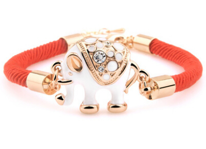 2016 fashion new design red rope chain bracelet for women personalized epoxy alloy lovely elephant bracelets for girls(China (Mainland))