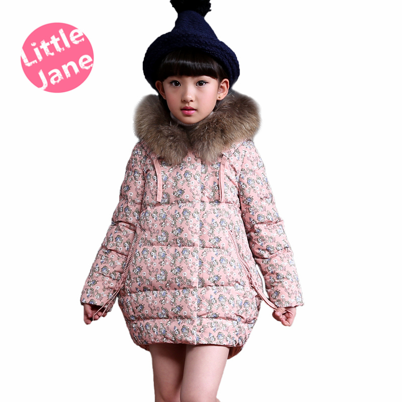 Vintage girl parka winter jacket fashion design korean style artificial fur hood, floral teenage girls 12 years