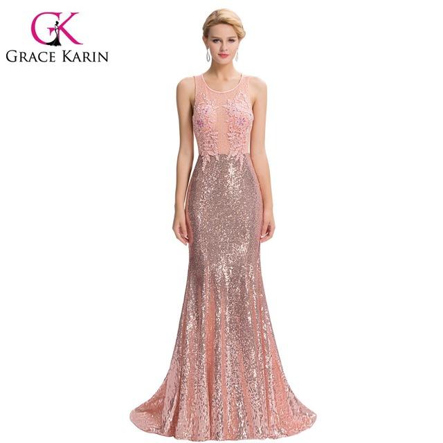 Грейс карин роскошные русалка вечернее платье длиной до пола спинки элегантный розовый ...