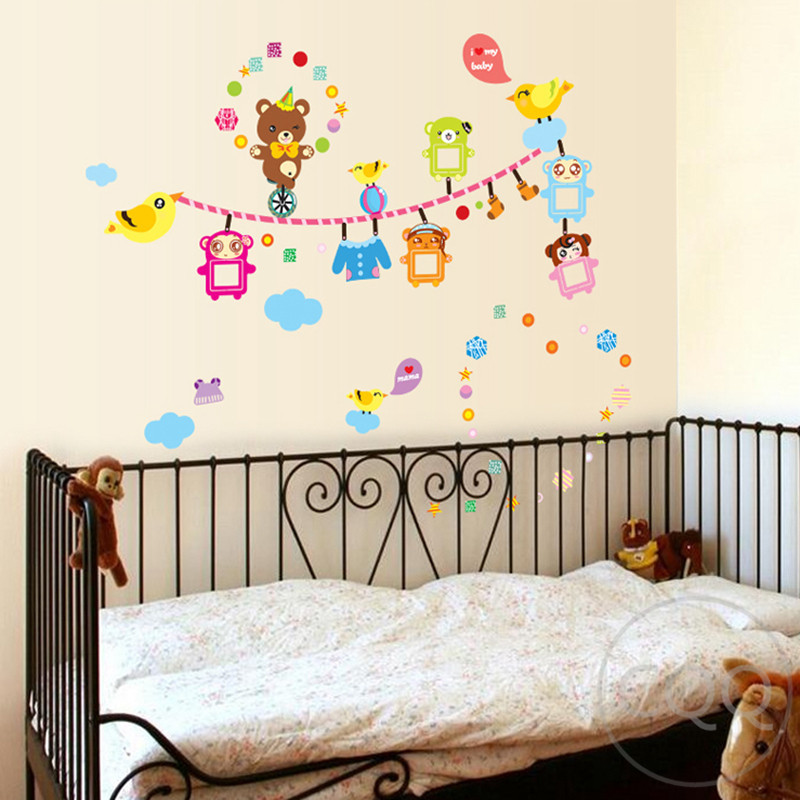 Cartoon animal wall stickers children home decor bear for Bear decorations for home