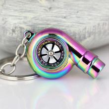Real Whistle Sound Turbo Keychain Sleeve Bearing Spinning Auto Part Model Turbine Turbocharger Key Chain Ring Keyfob Keyring(China (Mainland))