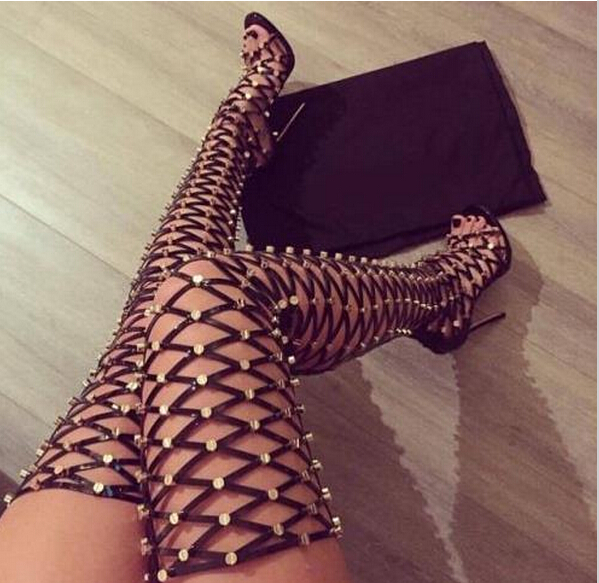 New Arrival Women Thigh High Boots Peep Toe Fretwork High Heel Long Gladiator Sandals Over Knee Boots Ladies Nightclub Pupms()