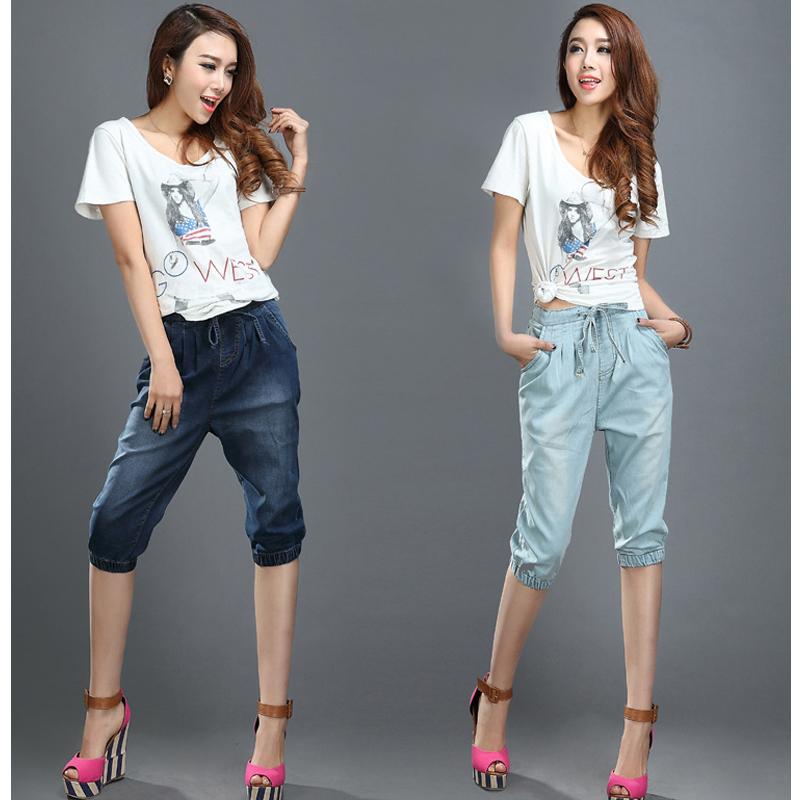 denim capris 2016 summer pants loose pants high waist fashion trousers 3 4 pants thermal. Black Bedroom Furniture Sets. Home Design Ideas