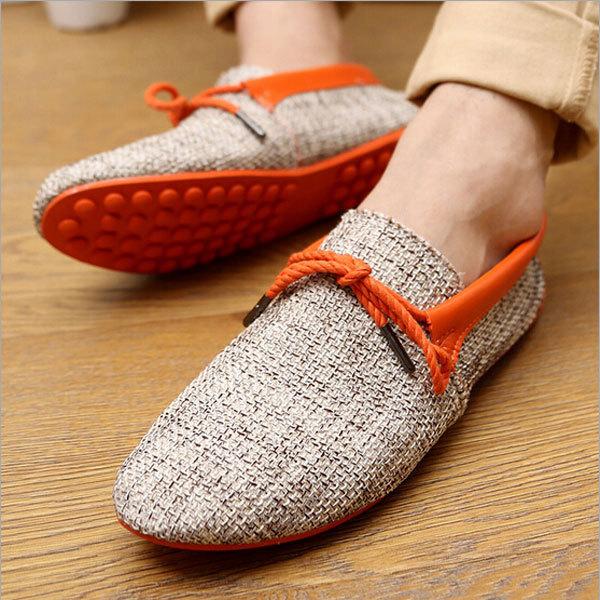 Летний стиль лен свободно дышать мужчины обувь свободного покроя носить простой комфорт ...