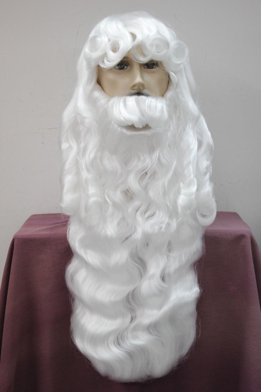 bjc 001118 New year Christmas wig+beard santa long party white wig(China (Mainland))