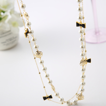 New 2015 Fashion Women Accessories Rose Flower Zircon Bow Long Necklace Simulated Pearl Jewelry X049