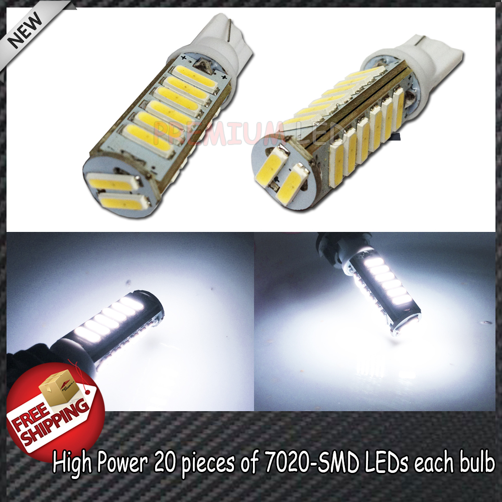 New Arrival 2pcs High Power Max 10W White T10 158 168 2825 W5W 20-7020-SMD LED Bulbs For Interior, Clearance, Backup Lights, etc(China (Mainland))