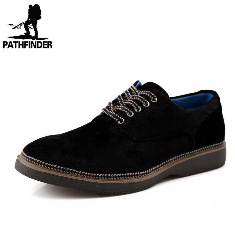 2016 Spring Brand Men Oxford Shoes Suede Leather Men Dress Casual Derby Shoes Office Flats Business Shoes Zapatos Hombre Black