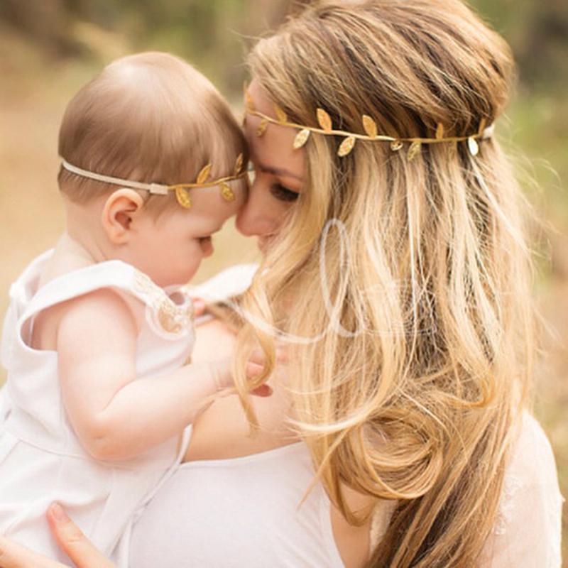 Mommy & Me Gold Silver Olive Leaves Headband Soft Leather Hairband Fashion Boho Baby Women Head Wrap Flower Hair Garland(China (Mainland))