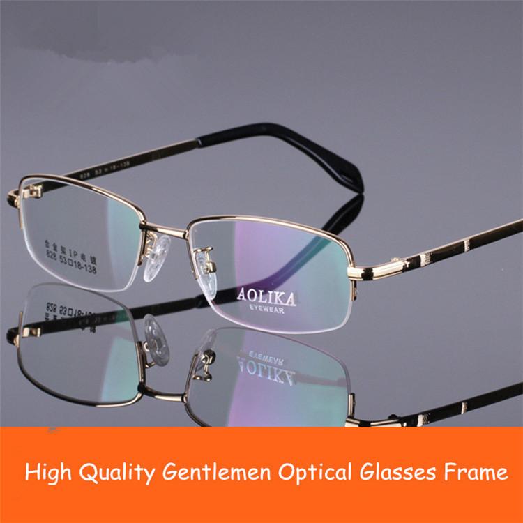 Gentlemen Gafas Men Half Frame Optical Glasses Memory Alloy Material for Myopia Goggles(China (Mainland))