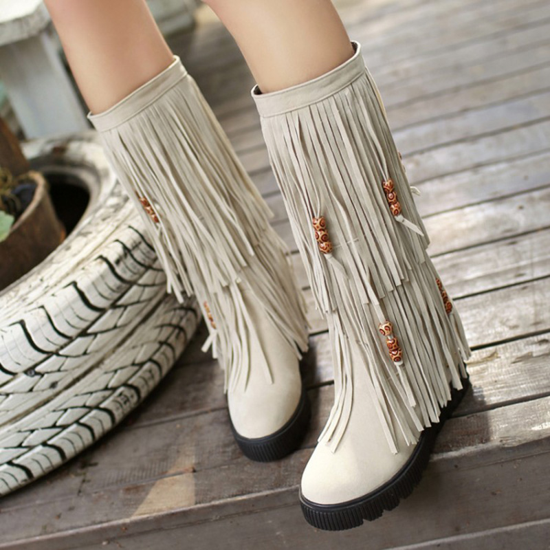 Womans Boots New Knee Boots Fringe Autumn And Winter Bohemia Vintage Single Increased Within<br><br>Aliexpress