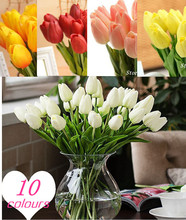 Free shipping 31PCS/LOT pu mini tulip flower real touch wedding flower artificial flower silk flower home decoration(China (Mainland))