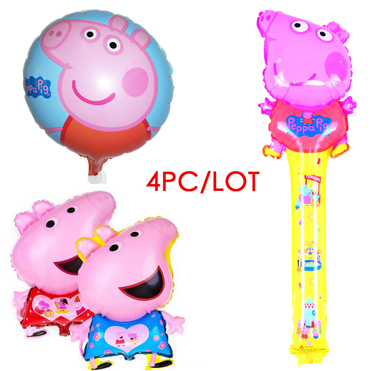 4pc/lot pink pig cartoon round balloon inflatable helium balloon aluminum balloons decorated children's birthday party supplies(China (Mainland))