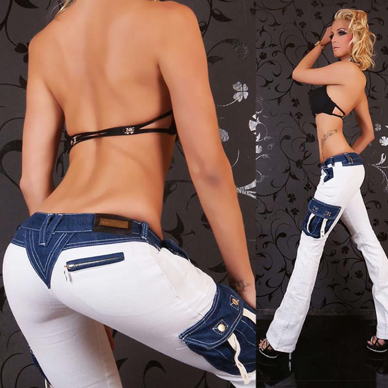 Women 2016 Jeans Woman Pencil Women Jeans White Flare Pants Femme Pockets Skinny Women's Jeans Denim Pants Trousers DYB25