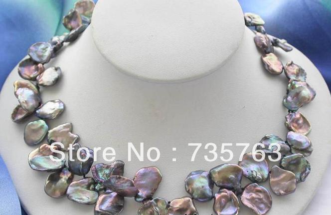 xiuli 001069 HUGE 17 black baroque keshi reborn pearl necklace<br><br>Aliexpress