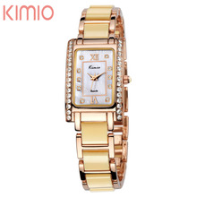 KIMIO Woman's Luxury Brand Crystal Watch for Women Businees Quartz Watches Unique Design Fashion Watches for Lady