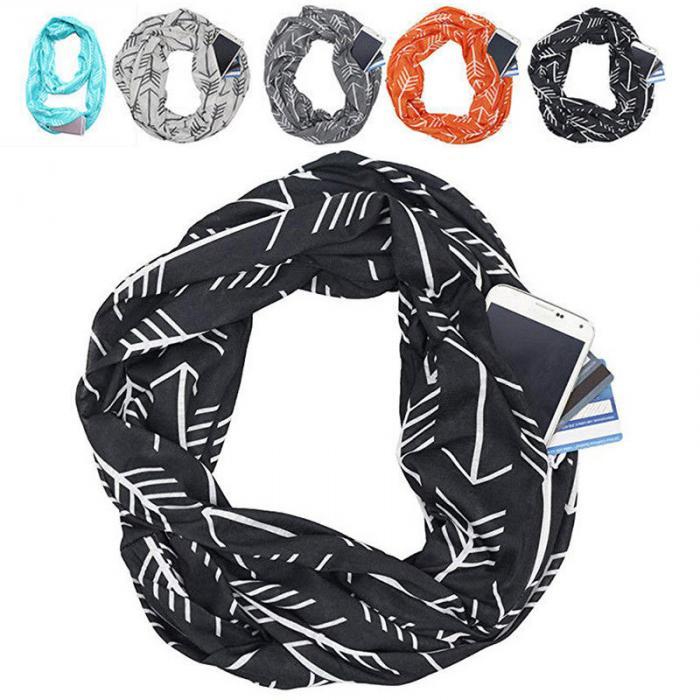 Écharpe Infinity convertible pour femmes avec poche à fermeture à glissière  et écharpes WML99 0968b9c4782