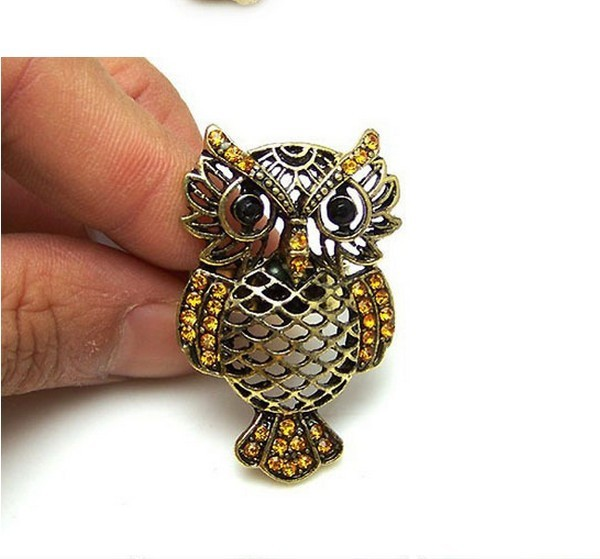 Update New arrival fashion brass vintage owl resizable ring Finger Ring