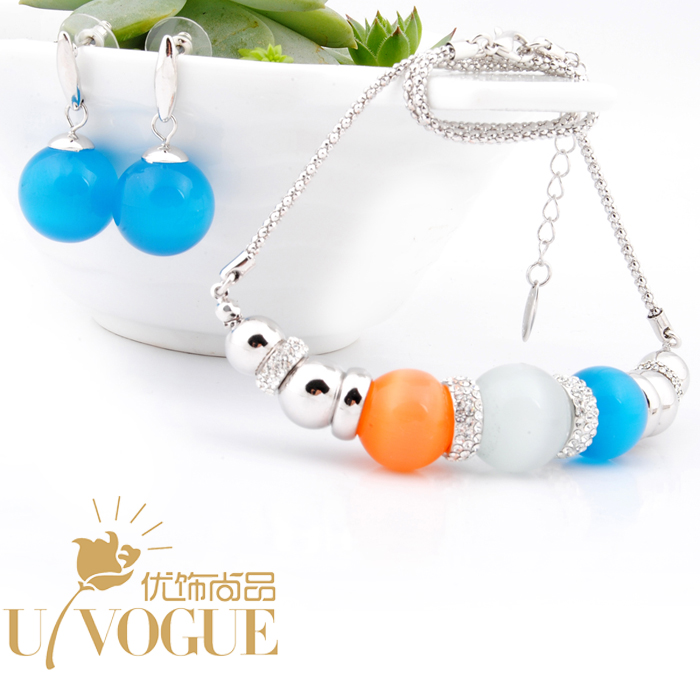 sterling silver opal beads bohemia jewerly sets vintage fashion blue chocker necklace drop earrings top quality UVOGUE Viennois