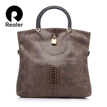 REALER Brand Genuine Leather Bags Female Fashion Snake Pattern Tote Bag Top Quality Leather Handbags Evening Clutch Shoulder Bag(China (Mainland))